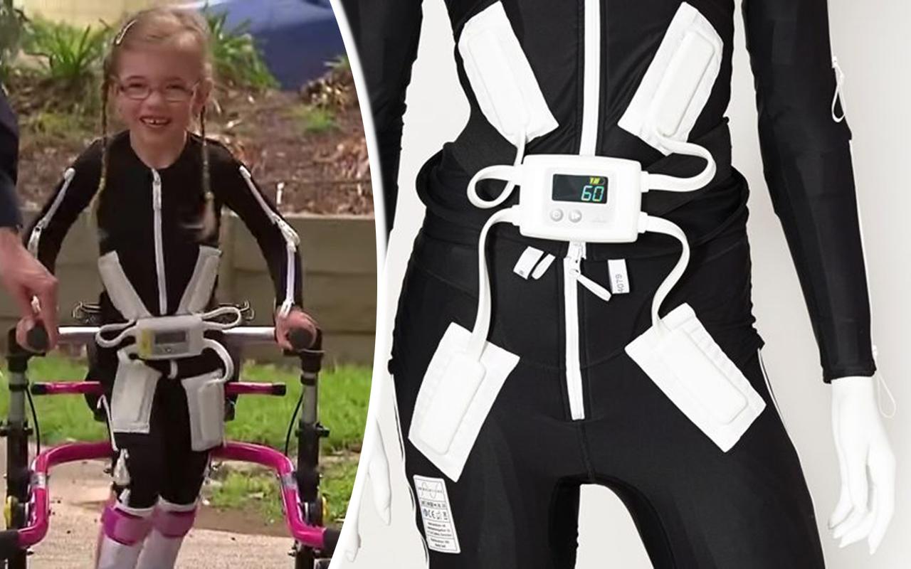 Annabelle, 6 år, går med hjälp av Smart Textiles superdräkt